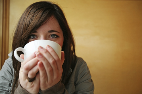 Girl Drinking Coffee Sm
